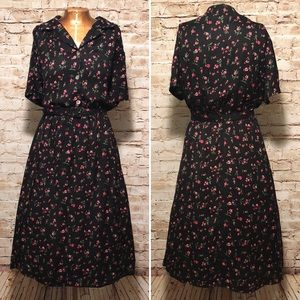 Vintage Floral Pint Belted Shirt Dress